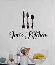Personalized Name & Kitchen Utensils Kitchen Wall Sticker Decor Vinyl Decal