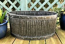 GRANDE Rotondo VINTAGE IN METALLO ZINCATO CANNA fioriere vasca per Piante Vaso di fiori da giardino