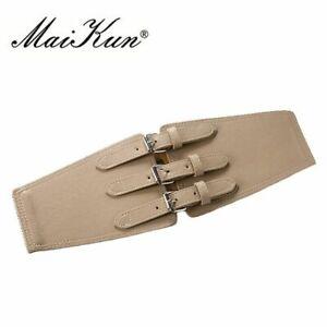 Women Corset Leather Wide Belt Fashion Triple Pin Buckle Brand Designer Belts