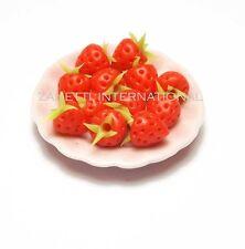 12 Dollhouse Miniature Tiny Strawberries on Pink Ceramic Plate * Doll Mini Food