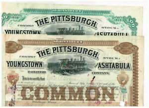 Set 2 Pittsburgh, Youngstown and Ashtabula RR, 1880-90s, VF - see scan