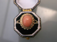 Women's Pink Coral 9ct Gold Vintage Signet Ring Coral Stone 2.1g Size T Stamped