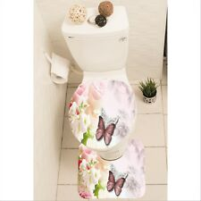Rose Butterfly Set of 3 Bathroom Rug Set Mat Toilet Lid Cover y70 y0366
