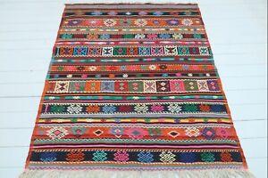 """Vintage Turkish Balya Kilim Rugs, Stripped Kelim, Modern Rug 56""""x71"""" Area Carpet"""