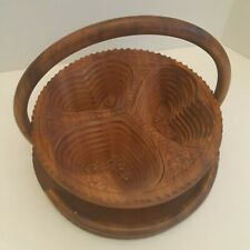 Collapsiable Folding Wooden Bowl 3 Heart Shaped Sections Flattens Malaysia 12""