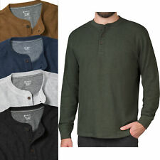 Mens Thermal Henley Long Sleeve T-Shirt Grandad Cuff Tee Warm Waffle Knit Winter