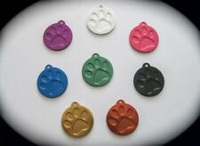 SMALL Round Coloured Paw Print Pet ID Name Tag Cat Dog Free Engraving & postage