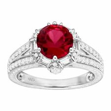 3 1/3 ct Created Ruby & White Sapphire Ring in Sterling Silver