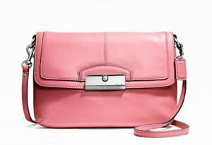 Coach Kristin Rose Pink Leather Flap Crossbody Shoulder Bag Purse 48986 $168