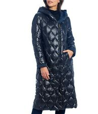 nwt Donna Karan Collection REVERSIBLE DOWN LONG COAT quilted black navy L