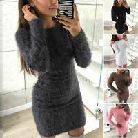 Autumn & Winter Women's Long Sleeve Round Neck Dress Solid Color Slim Warm Dress