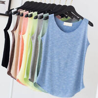 Women Loose I-shaped Vest Tank Top T-shirt Sleeveless Elegant Casual Summer NEW