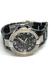 Guess Ladies Multifunction Quartz Watch In Black With Decorative Crystals