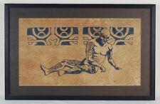 Vintage Painting of Naked Tattooed Man Maori Tribesman