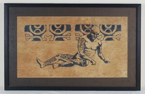 Vintage Painting of Naked Tattooed Man Tribesman Abstract Symbols