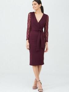 BNWT V by Very Lace Sleeve Scuba Berry Bodycon Dress Size 16