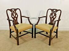 Pair Baker Furniture Butter Leather Mahogany Museum Chippendale Arm Chairs