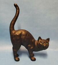 Vintage Hubley Styled Cast Iron Black Cat Arched Green Eyes Halloween Door Stop