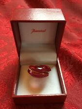 FLAWLESS Exquisite BACCARAT Crystal 18KT GOLD COXIAGE Pink Fuchsia RING Size 7