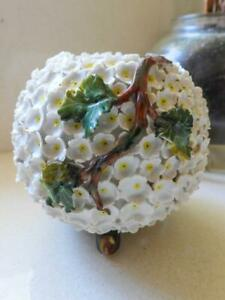 Antique Moore Bros Encrusted White Flowers & Branches Spherical Vase C.1875