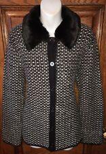 COLDWATER CREEK Black & White SWEATER, Faux Fur Detachable Collar,  Size L / 14