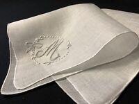 "#6700🌟Antique 1880s Hand Embroidered Monogram ""M"" Wedding Linen Handkerchief"