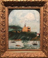Folk Art - Framed Oil On Glass - Coastal View With Castle