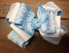 Baby Blue  Boutique Hair Bow Stacked Girl Lace Spring Easter Clip Toddler