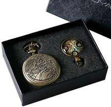 Who Quartz Pocket Watch With and Box Yisuya Vintage Bronze Doctor Who Retro Dr.