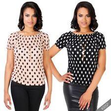 Polka Dot Short Sleeve Machine Washable T-Shirts for Women