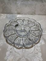 "Vintage Studios Crystal  Japan Three Section Crystal Divided Shallow bowl. 9"""