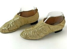 Vtg Dancing Shoes Stretchy metallic USA sz 6 jester gold low heel