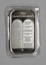 Rare Vintage Ten Commandments 1 oz. .999 Fine Silver Art Bar