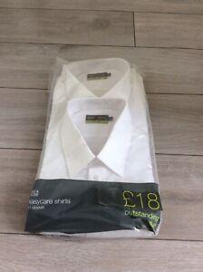 "M&S Men's White 2 Easycare Short Sleeve Shirts,New, Uniform/Work  Collar 18.5"""