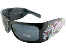 Men Women Sunglasses Tattoo Style Shades Retro UV Dragon Gray Lens Black 6007