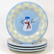 "Hartstone Pottery SNOW PEOPLE 8"" Salad Dessert Plate Set 4P Snowman Double Check"