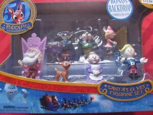 SANTA'S ELVES Figurine Set 2014 rudolph the red nosed reindeer misfit toys NEW