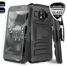 For Motorola Moto E5 Cruise/Play/Go Rugged Phone Case Holster+Tempered Glass