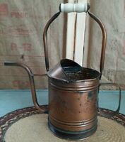 Vintage Punched Copper Primitive Watering Can with Ceramic Handle Made in Mexico