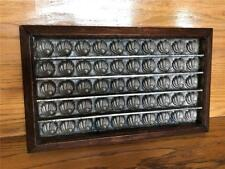 Antique Primitive Cast Metal Chocolate Candy Mold 50 Shell Shapes Walnut Frame