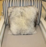 Single-Sided White with tip Sheepskin Pillow Sofa Cushion Cover Fur pillowcase