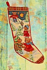 Vintage Needlepoint Christmas Stocking Ice Skating and Skiing Bears Red Velvet
