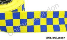 Ribbon Yellow & Blue Diced 40mm Sold by Meter R902
