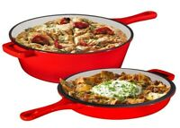 Enameled 2 in 1 Cast Iron Multi-Cooker Dutch Oven & Convertible Skillet Lid Red