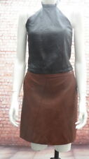 funky faux leather A line godet skirt warm brown Zara S