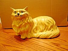 "Large Vintage Hand Painted 17"" Cat Figurine Golden Yellow Glazed Ceramic"
