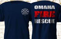 New OMAHA Nebraska Fire Rescue Department Firefighter Navy T-Shirt S-4XL