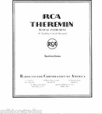 RCA THEREMIN Instruction Manual Reprint synthesizer