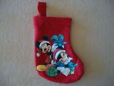 "Red Disney ""Mickey & Minnie Mouse"" Felt Christmas Stocking, 6 1/2"" X 5"", NEW!!"