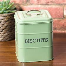 Vintage Sage Green Biscuit Storage Tin Cookie Barrel Box Container Sweets Holder
